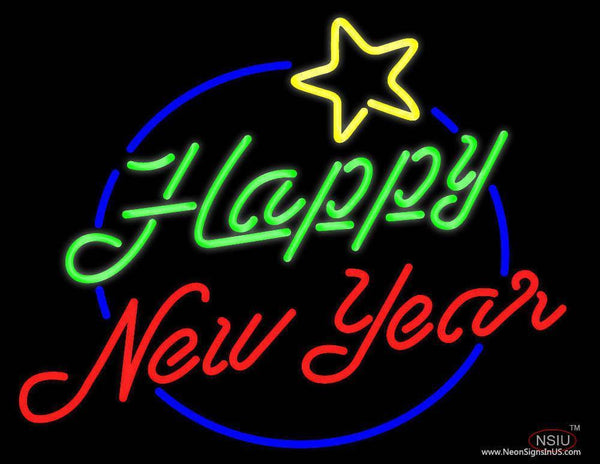 Happy New Year Logo Real Neon Glass Tube Neon Sign