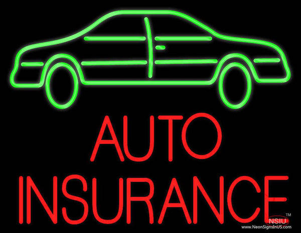 Auto Insurance With Car Real Neon Glass Tube Neon Sign