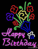 Happy Birthday with Bouquet Real Neon Glass Tube Neon Sign
