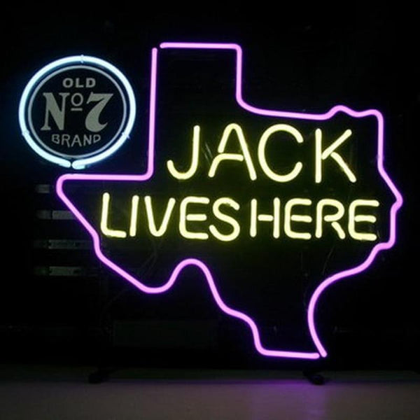 New Jack Daniels Lives Here Texas Old #7 Whiskey Handmade Art Neon Sign