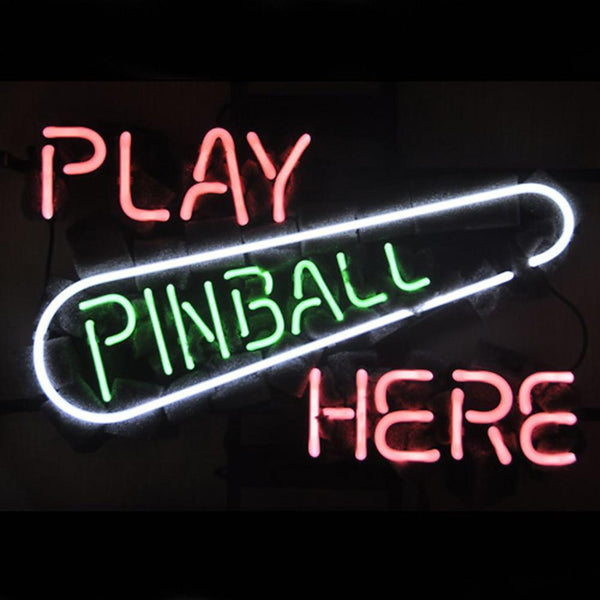 Professional  Play Pinball Here Game Room Beer Bar Neon Sign