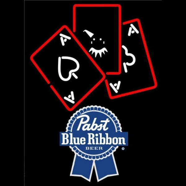 Pabst Blue Ribbon Ace And Poker Beer Sign Handmade Art Neon Sign