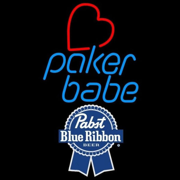 Pabst Blue Ribbon Poker Girl Heart Babe Beer Sign Handmade Art Neon Sign
