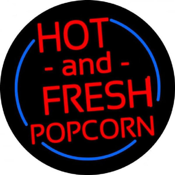 Red Hot And Fresh Popcorn With Border Handmade Art Neon Sign