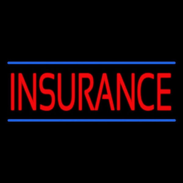 Red Insurance Blue Lines Handmade Art Neon Sign