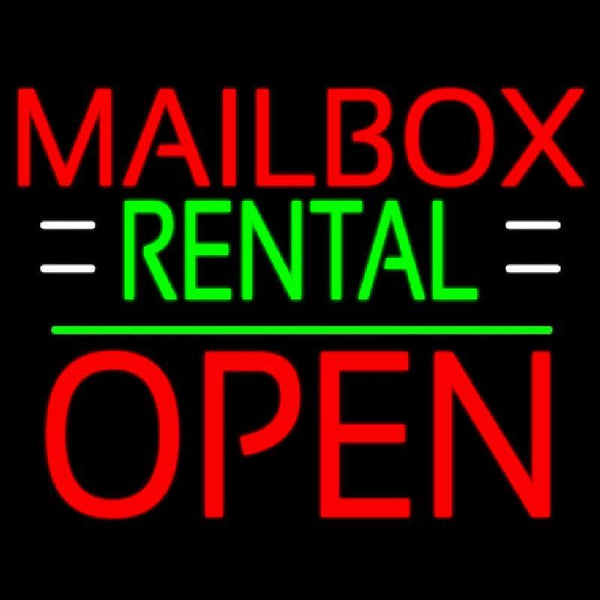 Red Mailbox Rental With White Line Open 1 Handmade Art Neon Sign