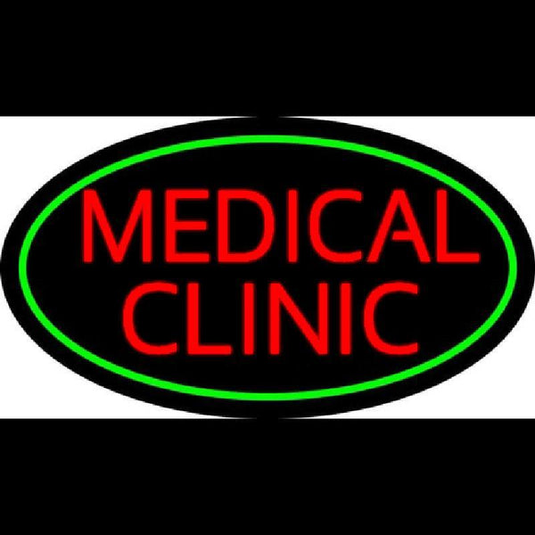 Red Medical Clinic Oval Green Handmade Art Neon Sign