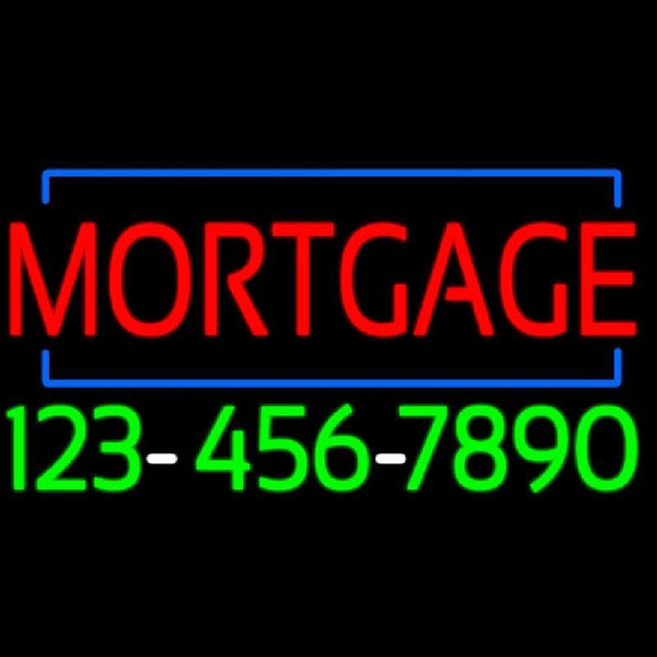 Red Mortgage With Phone Number Handmade Art Neon Sign