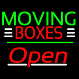 Red Moving Boxes Block Green Line With Open 3 Handmade Art Neon Sign