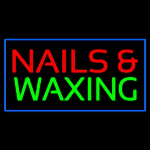 Red Nails And Waxing Green With Blue Border Handmade Art Neon Sign
