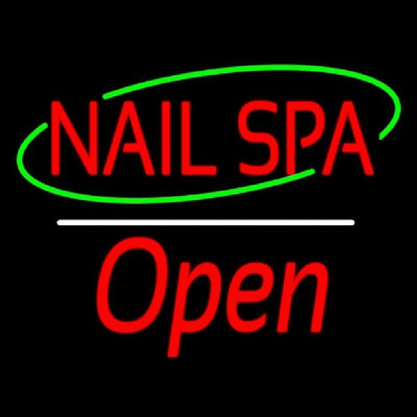 Red Nails Spa Open White Line Handmade Art Neon Sign