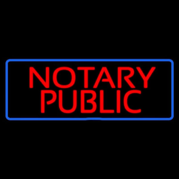 Red Notary Public Blue Border Handmade Art Neon Sign
