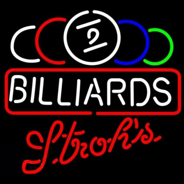 Strohs Ball Billiards Text Pool Beer Sign Handmade Art Neon Sign