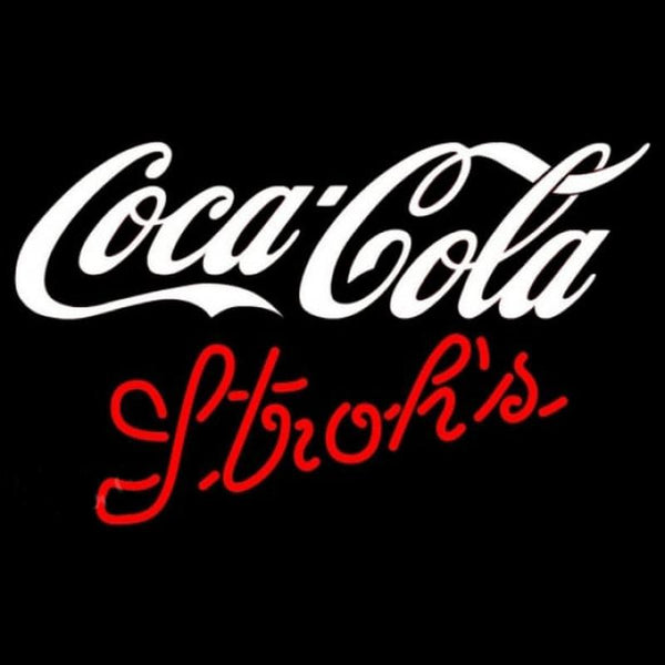 Strohs Coca Cola White Beer Sign Handmade Art Neon Sign