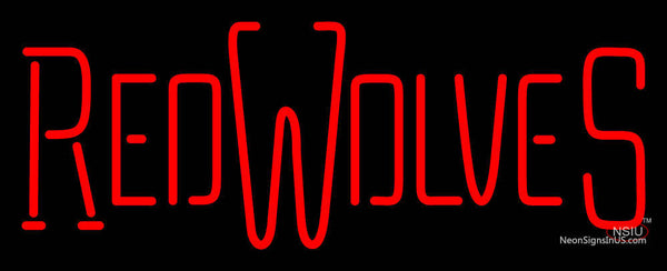 Arkansas State Red Wolves Wordmark  Pres Logo NCAA Neon Sign