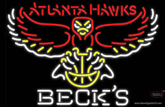 Becks Atlanta Hawks NBA Real Neon Glass Tube Neon Sign
