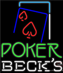 Becks Green Poker Red Heart Real Neon Glass Tube Neon Sign