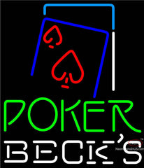 Becks Green Poker Red Heart Neon Sign