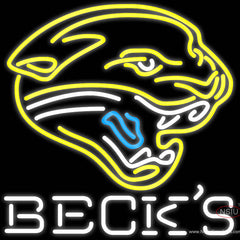 Becks Jacksonville Jaguars NFL Real Neon Glass Tube Neon Sign