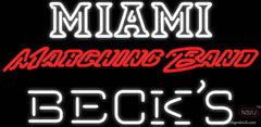 Becks Miami UNIVERSITY Band Board Real Neon Glass Tube Neon Sign
