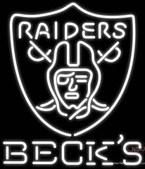 Becks Oakland Raiders NFL Real Neon Glass Tube Neon Sign