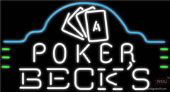 Becks Poker Ace Cards Real Neon Glass Tube Neon Sign