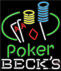 Becks Poker Ace Coin Table Real Neon Glass Tube Neon Sign
