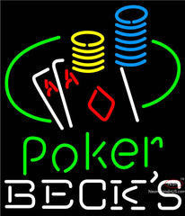 Becks Poker Ace Coin Table Neon Sign