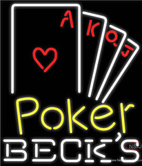 Becks Poker Ace Series Real Neon Glass Tube Neon Sign