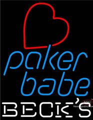 Becks Poker Girl Heart Babe Neon Sign
