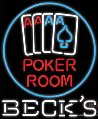 Becks Poker Room Real Neon Glass Tube Neon Sign