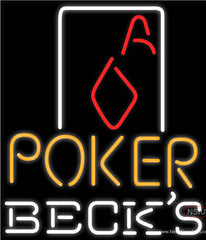 Becks Poker Squver Ace Real Neon Glass Tube Neon Sign