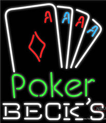 Becks Poker Tournament Real Neon Glass Tube Neon Sign