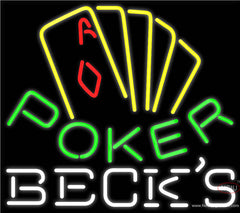 Becks Poker Yellow Real Neon Glass Tube Neon Sign