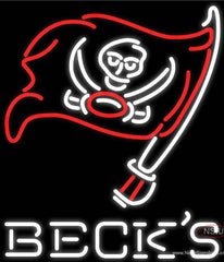 Becks Tampa Bay Buccaneers NFL Real Neon Glass Tube Neon Sign