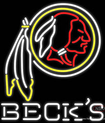 Becks Washington Redskins NFL Real Neon Glass Tube Neon Sign