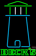 Becks Light House Art Neon Beer Sign