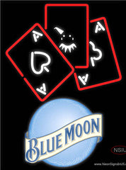 Blue Moon Ace And Poker Real Neon Glass Tube Neon Sign