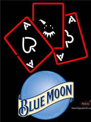 Blue Moon Ace And Poker Neon Sign