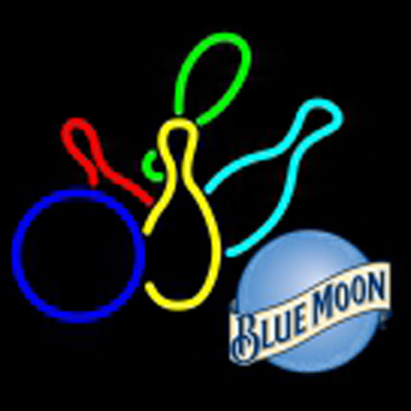 blue moon colored bowlings neon sign