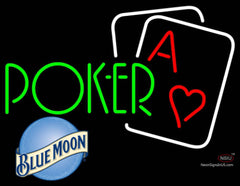 Blue Moon Green Poker Neon Sign 7
