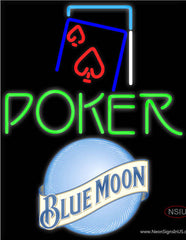 Blue Moon Green Poker Red Heart Real Neon Glass Tube Neon Sign