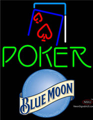 Blue Moon Green Poker Red Heart Neon Sign