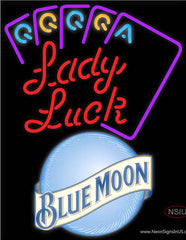 Blue Moon Lady Luck Series Real Neon Glass Tube Neon Sign