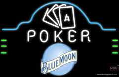Blue Moon Poker Ace Cards Real Neon Glass Tube Neon Sign