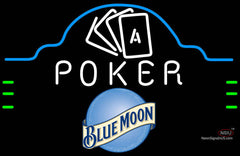 Blue Moon Poker Ace Cards Neon Sign