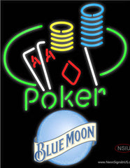 Blue Moon Poker Ace Coin Table Real Neon Glass Tube Neon Sign