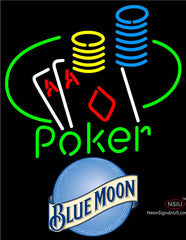 Blue Moon Poker Ace Coin Table Neon Sign