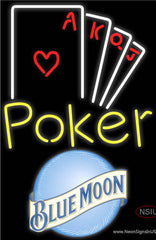 Blue Moon Poker Ace Series Real Neon Glass Tube Neon Sign
