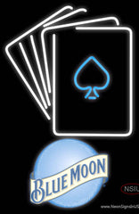 Blue Moon Poker Cards Real Neon Glass Tube Neon Sign 7